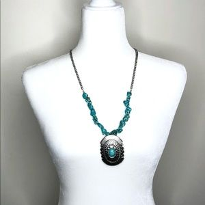 Turquoise pendant statement necklace boho western